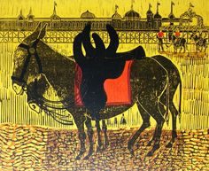 'Donkeys and Pier' by Robert Tavener (lithograph)