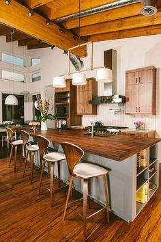 Butcher block countertop.......1960s Malibu Inspired New Construction modern kitchen
