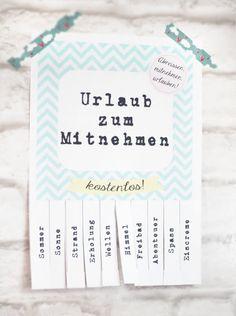 DIY : Urlaub ToGo {free printable}