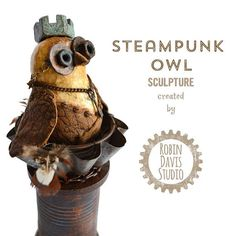 Steampunk Owl Sculpture by Robin Davis Studio. This Owls name is Noble. This is a One of a Kind Owl Sculpture. I sculpt the body using clay & attach leather using tiny aged rusty screws. I burn the feather detail into the leather using a pyrography pen. The Owl goggles are created