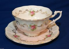 Royal Albert Wide Mouth Invitation Series Light Pink Roses Teacup Saucer Duo   eBay