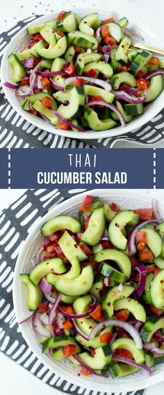 Thai Cucumber Salad is made with a few ingredients and comes together in less than 10 minutes! The salad combines the freshest cucumbers, red onions and bell peppers with a simple and refreshing vinaigrette. #healthy #cucumber #salad #thai #healthyrecipes