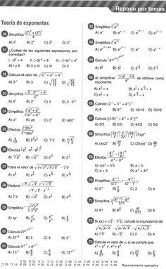Teoría de Exponentes - Ejercicios Resueltos « Blog del Profe Alex Math Quotes, Teacher Quotes, Quotes Quotes, Statistics Math, Math Exercises, Maths Paper, Algebraic Expressions, Maths Solutions, Precalculus