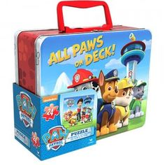 The Paw Patrol All Paws on Deck Puzzle is a 24-piece puzzle featuring all the characters from Paw Patrol. It stores neatly in a tin carry box.