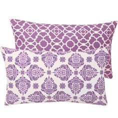Purple Decorative Throw Pillow Cover 12x20 Lumbar Florals with Lattice, Lucky Violet Collection. $36.50, via Etsy.