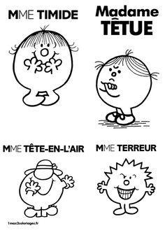 Mme Timide Mme Têtue Mme Tête-En-L'air Disney Fantasy, Smileys, Mr Men Little Miss, Monsieur Madame, Silhouette Portrait, Julia, Art For Kids, Image, French