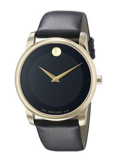 3950941c829 Movado Men's 0606876 Gold-Tone Watch with Black Leather Band. Free shipping  and guaranteed