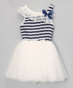 Look at this #zulilyfind! Ivory Stripe Tutu Dress - Infant, Toddler & Girls by The Princess Pea #zulilyfinds