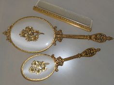 Vintage Gold Plated Mirror, Brush, and Comb Dresser Set