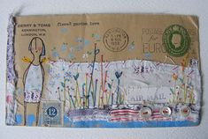 Envelope Art is cute! Mail Art Envelopes, Art Postal, Decorated Envelopes, Envelope Art, Postcard Art, Collage, Fabric Paper, Textile Art, Altered Art