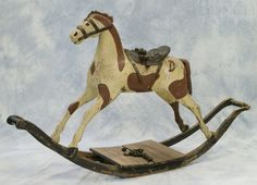 Carved and Painted Folk Art Rocking Horse