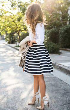 Classic Stripe Skirt  Skirt – Chicwish, Shirt – H&M Coat – Banana Republic Shoes – Old Joe's f Lace and Locks