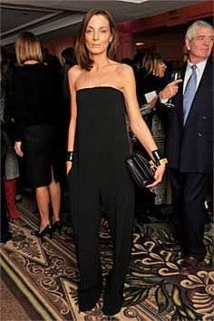 Another black elegant jumpsuit. Designer Phoebe Philo at the 2010 British Fashion Awards at the Savory Theater in London. British Fashion Awards, Phoebe Philo, Celine, Fashion Gone Rouge, Organza, Looks Cool, Costume, Mode Inspiration, British Style