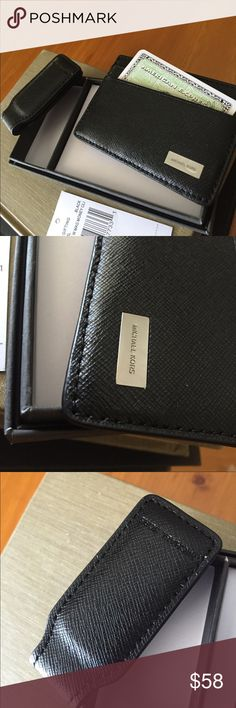 Michael Kors Money Clip/Credit Cards Case/New Sleek set from MK with credit card case and magnetic money clip in color black and comes with a nice gift box Michael Kors Accessories Key & Card Holders