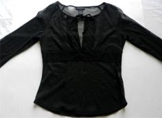 The Limited Womens Sz M Top Blouse Black Sheer Dressy Long Sleeve Crochet Accent http://stores.ebay.com/AJs-Unique-Boutique