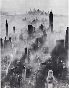 air view of midtown manhattan looking south in a smoggy day july 1943