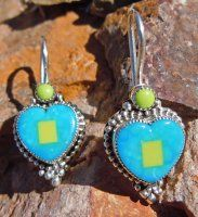 Turquoise & Gaspeite Mosaic Heart French Wire Earrings