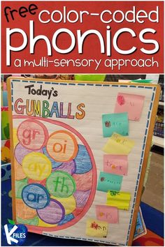 Are you looking for a way to help your young readers remember spelling patterns? This FREE unique color-coded phonics strategy will help young readers and writers DECODE unfamiliar words, rather than GUESS. These Gumball Phonics© reading strategies will keep your young writers and readers engaged and alert for the phonics and spelling patterns they are learning. #phonics #literacy Phonics Reading, Learning Phonics, Teaching Reading, Teaching Kids, Kindergarten Phonics, Guided Reading, Anchor Activities, Phonics Activities, Phonics Centers