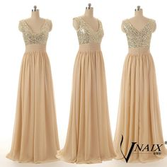 Elegant Evening Dresses Custom Made Deep V Neck by VnaixBridal....possible BM dress....can be custom made to be short!