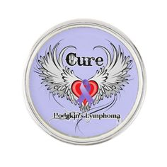 Cure Hodgkins Lymphoma Lapel pin featuring a tattoo style wing design with a heart and an awareness ribbon by hodgkinslymphomacancerapparelgifts.com  #hodgkinslymphomacancer #hodgkinslymphomacancerawareness #hodgkinslymphomacancerpins