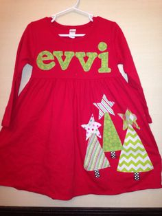 Girl's Christmas Dress - Personalized Christmas Dress- Tree Applique Dress on Etsy, $33.00