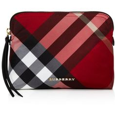 Burberry Large Nylon Pouch (5 010 UAH) ❤ liked on Polyvore featuring beauty products, beauty accessories, bags & cases, bags, beauty, clutches and burberry