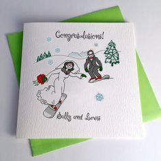 Ski and snowboard wedding ideas and gifts, something special forget the boots and gloves and goggles. Love and laughter, fun and snowflakes. Destination Ski Resort for the perfect Piste wedding. Snowboard Wedding, Ski Wedding, Snowboard Design, Ski And Snowboard, Retirement Cards, Bride Bouquets, Anniversary Cards, Wedding Stationery, Wedding Cards