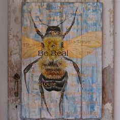 Bee original acrylic painting on reclaimed by johnandgigiathome, $595.00