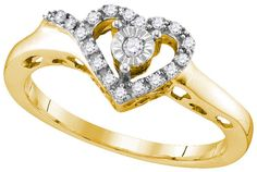 Yellow-tone Sterling Silver Womens Round Natural Diamond Heart Love Fashion Ring 1/10 Cttw