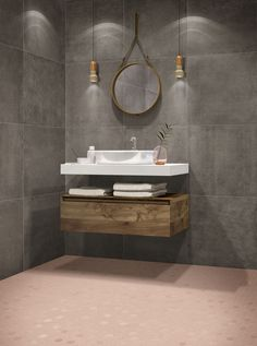 You saved to Porcelain tiles This modern bathroom has a lightly textured cement look porcelain wall tile called Concrete Warm and a mosaic floor called Hexa Rosy Blush. There are many colors to choose from. Bathroom Interior, Modern Bathroom, Small Bathroom, Bathrooms, Bathroom Ideas, Bathroom Sinks, Minimalist Bathroom, Bathroom Designs, Hexagon Tiles