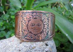 Copper Sun Cuff Bracelet - Kimmunication Arts Cuff Bracelets, Copper, Fancy, Sun, Metal, Jewelry, Jewlery, Jewerly, Schmuck