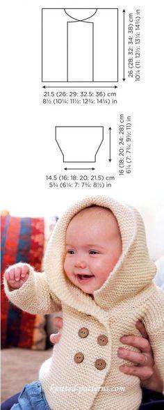 Hand knitted baby jacket in garter stitch FREE pattern (2/2) (hva)