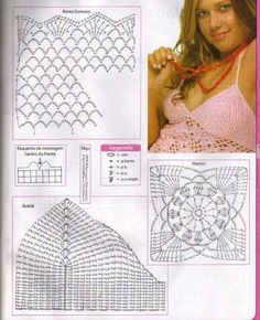 crochet top- square motifs  2nd page with charts
