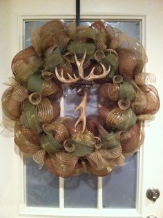 Cross deer horn burlap wreath, Lorri Clary I so need you to make this for me!