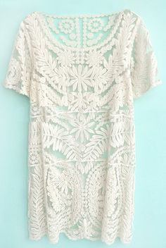 Beige Short Sleeve Embroidery Sheer Lace Dress - this is adorable on the model.