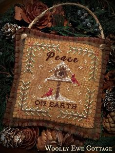 Peace On Earch Primitive Rustic Christmas Cross Stitch Chart PDF EPattern