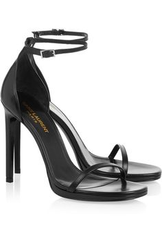 Heel measures approximately 110mm/ 4.5 inches with a 10mm/ 0.5 inches platform Black leather Buckle-fastening ankle strap