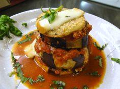 Eggplant Parmigiano with Smoked Mozzarella, Fresh Basil, San Marzano tomatoes and Parmigiano Reggiano