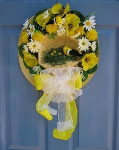 Straw Hat with Goldfinch and Nest Summer Front Door Wreath