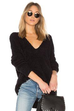 Free People Lofty V-Neck Pullover Sweater in Black | REVOLVE
