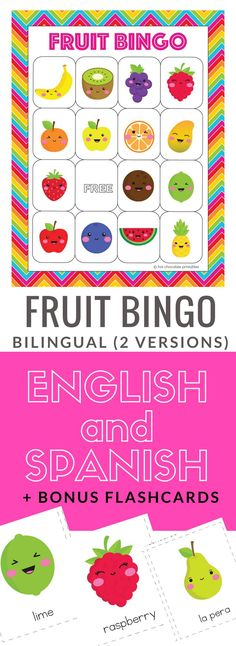 Learn and practice 18 different fruits in English and Spanish language with this cute dual language BINGO game and vocabulary flashcard set for young learners in ESL, EFL and Spanish language classrooms. You can teach and review the vocabulary and then play the game in either language (or both).
