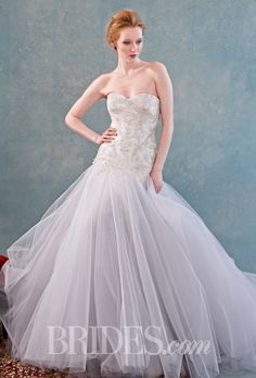 "Brides.com: Spring 2015 Wedding Dress Trends ""Leeta"" strapless beaded dropped-waist tulle ball gown wedding dress with a sweetheart neckline, Kelly Faetanini Photo: Kyle Erickson"