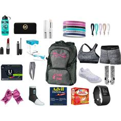 What's in my cheer bag by cierraramer on Polyvore featuring polyvore, fashion, style, NIKE, MICHAEL Michael Kors, MAC Cosmetics, Kenzoki, Ursa Major, Dye Ties, Fitbit and Victoria's Secret PINK