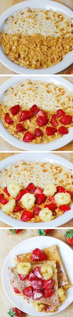 Crepes filled with strawberries, bananas, and peanut butter. Delicious, filling, and low carb!