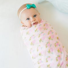 bamboo swaddle blanket. floral blanket. perfect for little ladies.