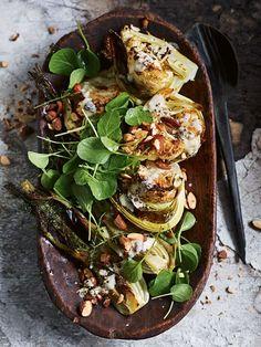 roasted cauliflower & fennel salad with preserved lemon almond dressing / recipe