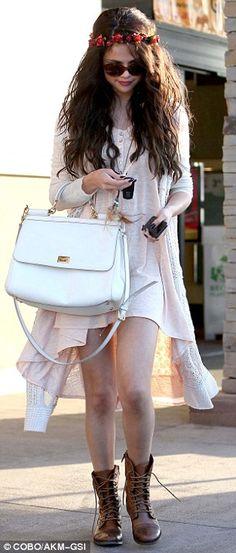 Stylish sister: Selena Gomez showed off her flirty boho style as she stepped out in Tarzana, California on Friday