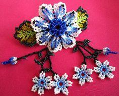 Mexican Huichol Beaded Flower Hair clip by Aramara on Etsy