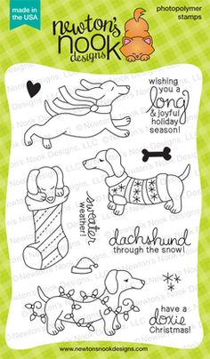 Holiday Hounds | 4x6 photopolymer Stamp Set | Newton's Nook Designs | $14.99 | http://www.newtonsnookdesigns.com/holiday-hounds/