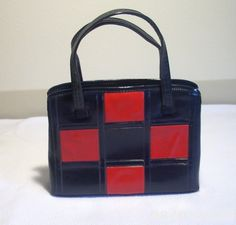 Vintage 60s Checkered Handbag Red and Blue by DejaBlonde on Etsy
